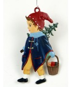 Boy with Christmas Tree Hanging Ornament Wilhelm Schweizer