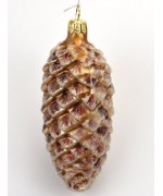 Frosted Mouth Blown Glass Ornament 'Pine Cone'