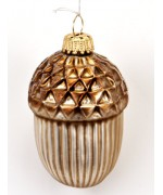 TEMPORARILY OUT OF STOCK Frosted Mouth Blown Glass Ornament 'Acorn'