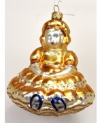 Mouth Blown Glass Ornament 'Gold Princess'