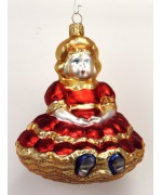 Mouth Blown Glass Ornament 'Red Princess'