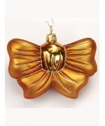 Mouth Blown Glass Ornament 'Gold Bow Ornament'