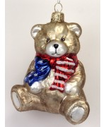 Mouth Blown Glass Ornament 'Patriotic Teddy  Bear'