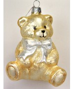 TEMPORARILY OUT OF STOCK <BR><BR> Mouth Blown Glass Ornament 'Yellow Teddy Bear'