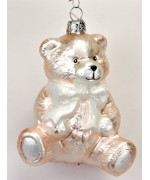 TEMPORARILY OUT OF STOCK <BR><BR> Mouth Blown Glass Ornament 'Pale Pink Teddy Bear'