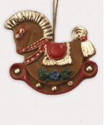 TEMPORARILY OUT OF STOCK <BR><BR> Wax Ornament Hand Painted 'Rocking Horse'