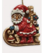 Wax Ornament Hand Painted 'Santa on His Sleigh'
