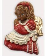 Wax Ornament Hand Painted 'Angel Kneeling'
