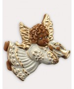 Wax Ornament Hand Painted 'Angel playing the Trumpet'