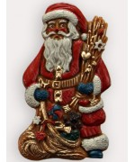 TEMPORARILY OUT OF STOCK <BR><BR> Wax Ornament Hand Painted 'Santa with Sack'