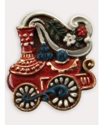 TEMPORARILY OUT OF STOCK <BR><BR> Wax Ornament Hand Painted 'Train'