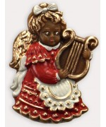 Wax Ornament Hand Painted 'Angel Playing the Harp'