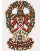 Wax Ornament Hand Painted 'Angel with Garland'