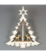 TEMPORARILY OUT OF STOCK - 3-D Christmas wooden Window Hanging Pyramid