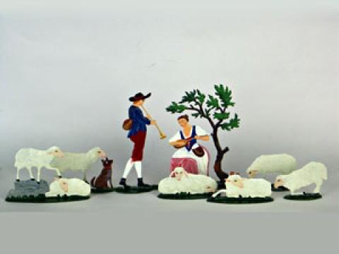 Baroque Shepherd Group Standing Pewter Wilhelm Schweizer