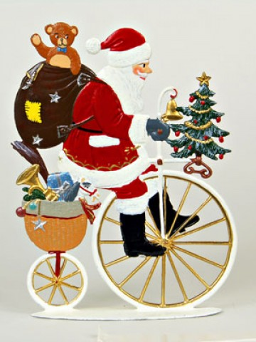 TEMPORARILY OUT OF STOCK - Santa on Old Fashioned Two Wheeler Anno 1992 Christmas Pewter Wilhelm Schweizer