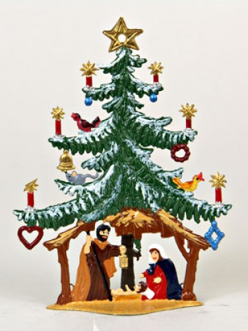 TEMPORARILY OUT OF STOCK - Nativity Tree Christmas Pewter Wilhelm Schweizer