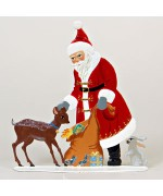 Santa with Deer Anno 1989 Christmas Pewter Wilhelm Schweizer