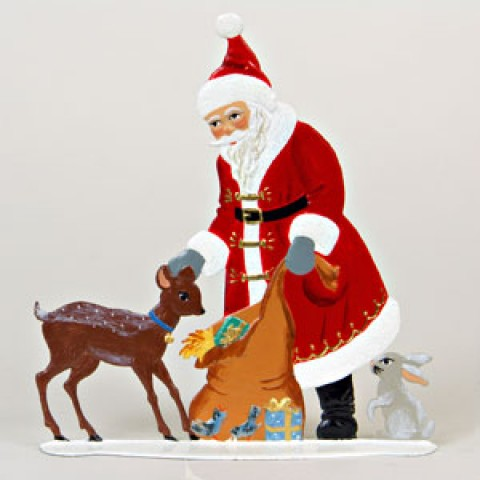 Santa with Deer Anno 1989 Christmas Pewter Wilhelm Schweizer - TEMPORARILY OUT OF STOCK