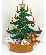 TEMPORARILY OUT OF STOCK - Christbaum mit Korb Christmas Pewter Wilhelm Schweizer