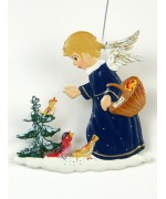 TEMPORARILY OUT OF STOCK - Angel Feeding Birds Christmas Pewter Wilhelm Schweizer