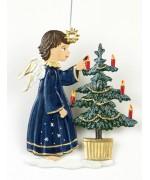 Angel schmueckt Baum Christmas Pewter Wilhelm Schweizer