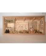 German wooden 3D-picture box-Diorama Farmer Shed Barn Pferdestall Scheune NATUR