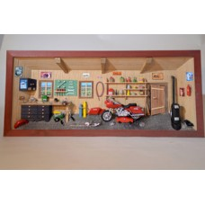German wooden 3D-picture box-Diorama Harley-Davidson Motorcycle Shop Painted - FD