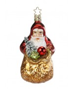 Inge-Glas German Glass Ornament Santa Claus with Gold Bag