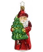 Inge-Glas German Glass Ornament Santa Claus with Tree