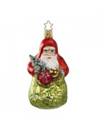Inge-Glas German Glass Ornament Santa Claus with Green Bag