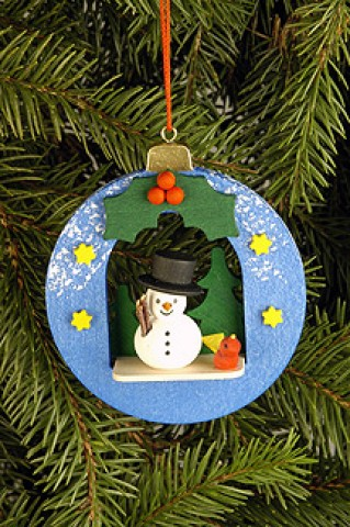 Christian Ulbricht German Ornament 'Christmas Ball with Snowman' - TEMPORARILY OUT OF STOCK
