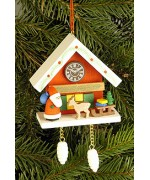 Christian Ulbricht German Ornament Cuckoo Clock Red with Santa - TEMPORARILY OUT OF STOCK