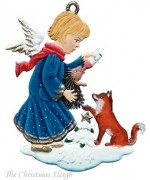 Angel with Fox and Hedgehog 2014Christmas PewterWilhelm Schweizer