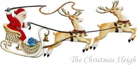 Santa and Sleigh Christmas Pewter Wilhelm Schweizer
