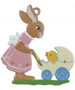 Wilhelm Schweizer Easter Oster Pewter Bunny with Stroller