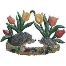 Wilhelm Schweizer Easter  Oster Pewter Hedgehogs under Tulips