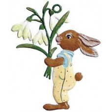Wilhelm Schweizer Easter Oster Pewter Bunny Holding Flowers