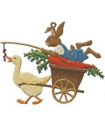 Wilhelm Schweizer Easter Oster Pewter Goose Pulling Bunny - TEMPORARILY OUT OF STOCK