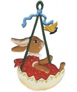 Wilhelm Schweizer Easter Oster Pewter Bunny Swinging in an Egg Shell