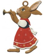 Wilhelm Schweizer Easter Oster Pewter Bunny Playing Trumpet