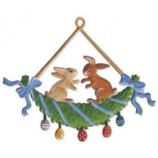 Wilhelm Schweizer Easter Oster Pewter Bunnies Swinging
