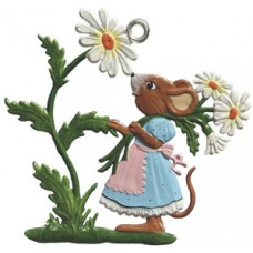 Mouse Picking Flowers Easter Oster Pewter Wilhelm Schweizer
