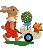 Wilhelm Schweizer Easter Oster Pewter Bunny Pushing Egg Cart