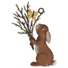 Wilhelm Schweizer Easter Oster Pewter Bunny Holding Pussy Willows