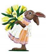 Wilhelm Schweizer Easter Oster Pewter Anno 1998 Bunny with Tulips - TEMPORARILY OUT OF STOCK