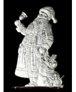 Wilhelm Schweizer Unpainted Pewter Anno 1987 Santa with Bell and Sack