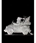 Wilhelm Schweizer Unpainted Pewter Anno 1991 Santa in Roadster