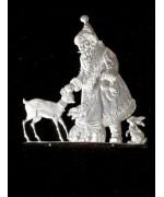 Wilhelm Schweizer Unpainted Pewter Anno 1989 Santa with Deer