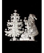 Wilhelm Schweizer Unpainted Pewter Anno 2008 Santa with Tree